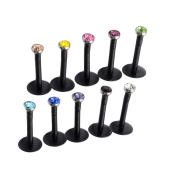 JOVIVI® 10pc Mixed 16G Acrylic CZ Gem Labret Stud Monroe Bar Lip Ring Stud Piercing Punk