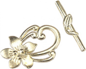 Clasp, Bright Silver Flower Toggle Clasp x 2 sets