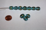 Venetian Style - Lamp Work Glass Beads - 14 X 10 Mm - Oval with Gold Works - 24 Beads Per Pack - Excellent 10 Gemstone Colours (Aqua