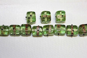 Lampwork Glass Beads - Hand Crafted - 12 X 12 Mm - Cube with Gold Line - 50 Beads Per Pack - Available in Many Colours (Mint