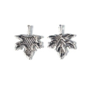 Pack 25 x Antique Silver Tibetan 17mm Charms Pendants (Maple) - (ZX07355) - Charming Beads