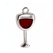 Pack of 4 x Red/Silver Enamel & Alloy 20mm Charms Pendants (Wine Glass) - (ZX06170) - Charming Beads