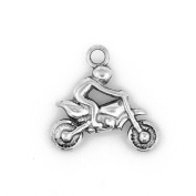 Packet of 10 x Antique Silver Tibetan 22mm Charms Pendants (Motorbike) - (ZX09520) - Charming Beads