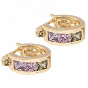 SASAMALL Elegant 14K Gold Filled Inlay Cubic Zirconia Green Pink Clear Small Hoop Earrings for Women
