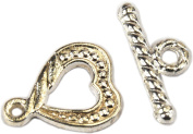 Clasp, Bright Silver Plated Heart Toggle - 2 sets