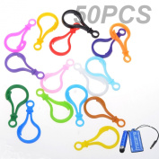 BCP 50PCS Random Colour Hard Plastic Lobster Clasps Hook for Key Ring Chain / Keyring /DIY Project