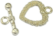 Toggle Clasp, Bright Silver Plated Heart Toggle - 2 sets