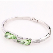 Beautiful Bead Women's Graceful Crystal Rhinestone Embedded Hinged Bangle Bracelet Silver and Green
