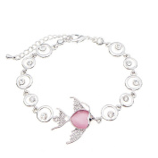 Beautiful Bead Adorable Cat's Crystal and Rhinestone Pet Fish Infinity Charm Bracelet Pink