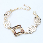 Beautiful Bead Women's Korean Style Minimal Design Crystal Charm Bracelet Gold and Champagne Colour