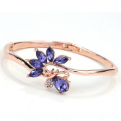 Beautiful Bead Women's Crystal Petal Shaped Charm Fine Bracelet Hinged Bangle Purple
