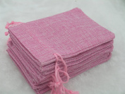 50pcs 9.3x13.5cm Pink Hemp/Hessian Bags, Jewellery Pouches, Wedding Favours, Jewellery Packing, Gift Bags