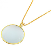 GC - 5X Necklace Magnifier 2.5cm - 1.9cm Glass Lens 90cm Gold Chain MONOCLE SPECTACLE US FAST FREE SHIPPER