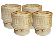 Thai Sticky Rice Basket Size 7.6cm (Pack of 4) Handmade Bamboo Rice Container