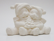 Cuddle Claus Bears Christmas Tree Ceramic Bisque - Clay Magic Mould 1385