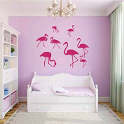 Wall Decals Nature Fauna Flamingo Pink Birds Flock of Birds Vinyl Decal Sticker Home Decor Bedroom Living Children's Any Room Murals ML213