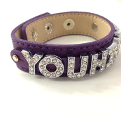 Younique Inspired Rhinestone Slide Charm Bracelet,for Younique Presenters, Live Your Dream, Purple Younique Charm Bangle, Younique Jewellery