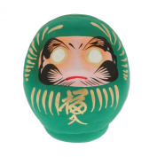 "1pc Japanese 3-3/4dia""green/health Daruma Doll for Made in Jpan #590-061gn"