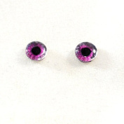 6mm Pair of Hot Pink Glass Eyes Crafting Supply Flatback Cabochons for Doll or Jewellery Making