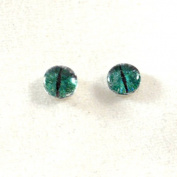 6mm Pair of Fantasy Green and Grey Dragon Glass Eyes Crafting Supply Flatback Cabochons for Doll or Jewellery Making