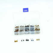 100 Pairs Glass Eyes Kits 5 Colours Mixed in One Box for for Needle Felting Bears Dolls Decys Sewing(20 Pairs Per Colour)