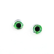 6mm Set of 2 Wide Green Glass Doll Eye Cabochons for Craft Making or Jewellery Design