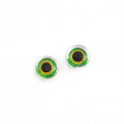 6mm Pair of Green and Yellow Glass Doll Eye Cabochons for Craft Making