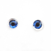 6mm Pair of Dark Blue Doll Making Glass Eyes Flatback Cabochons