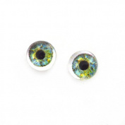 6mm Pair of Sage Green Doll Making Glass Eyes Flatback Cabochons