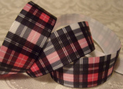 Grosgrain Ribbon - *Pink and Black Plaid* - 2.2cm W - 5 Yards