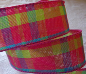 Polyester 3.8cm Wide Ribbon - Pink, Sapphire, and Lime Green Plaid Print With Fine Wire Edge - 10 Yards