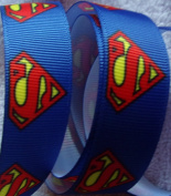 Grosgrain Ribbon **Superman Print** - 2.2cm wide - 5 Yards - Hair Bows, Craft
