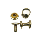 Amanteao Light Golden Double Cap Rivets Plane Cap 7mm and Post 6mm Pack of 200 Sets