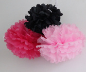 HEARTFEEL 6pcs Tissue Paper Pom poms Flower Ball Mixed Sizes Mixed Colours Wedding Party Outdoor Decoration Wedding Bridal Shower Home Decor Nursery Decorations
