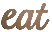 Custom WoodWorks - 20cm Unfinished 'eat' Sign, Script Font