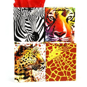 Animal African Safari Jungle Gift Bags with Handle and Tag, (12 Bags Total, 3 Each of 4 Different Designs - Zebra, Tiger, Cheetah, & Giraffe), Large (10.5 x 13 x 5.5), Matte