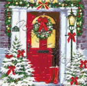 Town House - Christmas Trees At Door Counted Cross Stitch Kit