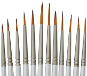 Miniature Paint Brush Set - Brushes for Fine Detail Painting - for the Acrylic, Oil & Watercolour Painter - Use for Art, Miniatures, Models, Wargaming, Airfix, Army Figures, Warhammer 40k - Includes Liners, Rounds & Flats