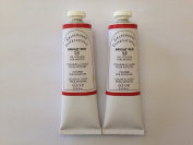 Bright red,extrafine oil paints(two handmade oil colour tubes 60ml each).