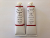 Indian red,extrafine oil paints(two handmade oil colour tubes 60ml each).