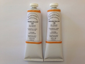 Indian yellow,extrafine oil paints(two handmade oil colour tubes 60ml each).