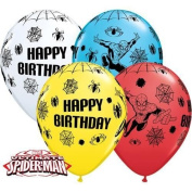 Marvels Ultimate Spiderman Happy Birthday 28cm Qualatex Latex Balloons x 10