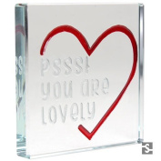 "Spaceform ""Pssst You Are Lovely"" Miniature Square Glass Token"