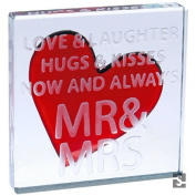 "Spaceform ""Love & Laughter Mr & Mrs"" Miniature Square Glass Token"