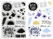 Wildflower + Co. Clear Stamps - Celestial - Moon, Cat Constellation, Stars, Shooting Star, Galaxy, Evil Eye, Rising Sun, Love You to the Moon & Back