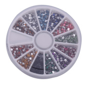 DGI MART Nailart Sets Kits 3000pcs 2mm 12 Colour Square Shape Rhinestones Glitter Tips Decoration