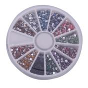 DGI MART Nailart Sets Kits 3000pcs 2mm 12 Colour Square Shape Rhinestones Glitter Tips Decoration