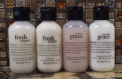 Philosophy Travel Set of 4 Amazing Grace & Fresh Cream Shower Gel & Body Lotion Trust Quality