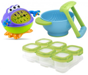 Nuby 3-D Monster Snack Keeper with Food Storage Cubes and Mash & Serve Bowl