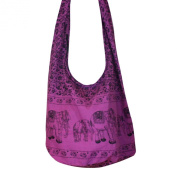 Hobo Hippie Elephant Sling Crossbody Bag Purse Thai Top Zip Handmade New Colour Purple